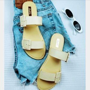Shoes - La Playa// double buckle yellow sandal